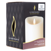 "Vanilla Real Flame-Effect LED Pillar Candle - 3 1/2"" x 5"""